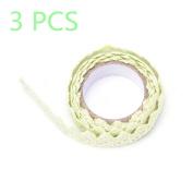 1.7m Green Fabric Lace 3 Rolls DIY Decorative Sticky Ribbon Masking Tape Self Adhesive Cotton Trim Craft Washi Tapes