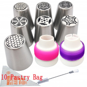 Russian Icing Piping Nozzles Frosting Flower piping nozzles decorations tools set and bag for cupcake 7 Pcs/set, Aixin Stainless Steel Large Size Russian Piping tips