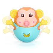 Baby Tumbler Teether Toy - Safety Monkey Toy with Feeder Bell Bath Toy for Infants toddlers by Style-Carry