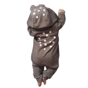 Nuohuilekeji Baby Kid Autumn Winter Hoodie Romper Cartoon Bear Style Dot Print Warm Jumpsuit