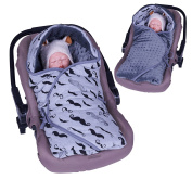 Sevira Kids - Covering enveloping by minky - REVERSIBLE - universelle and multi-purpose for car seat - Mr Moustache, 0 - 6 mois