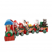 Hahuha 4 Pieces Wood Christmas Xmas Train For Decoration Decor Toy Gift