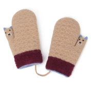Zelta Unisex Baby Knitted Mitten Thumb Bear Cartoon Design Gloves