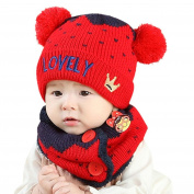 Saihui Baby Boys Girls Kids Letter Crown Hat+Scarf 2Pcs Child Knitting Warm Hats Cap