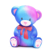 UPXIANG 10cm Galaxy Cute Teddy Squeeze Doll Toy Cream Scented Squishy Slow Rising Squeeze Strap Kids Toy Gift Adults Stress Relief Soft Toy
