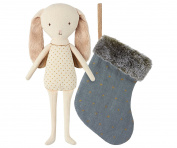 Maileg - Floppy Eared Bunny Angel In Stocking - Blue - 23cms
