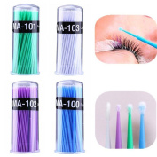 Eyelash Extension Micro Brushes, 400 PCS Disposable Makeup Cosmetic Individual False Eyelashes Eye Lashes Round Cotton Remover Purple/Blue/Green/Pink