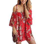 Women Strap Off Shoulder 3/4 Sleeve Floral Printed Mini Dress