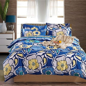 Cotton Four Sets Printing Bedding Kit Bed Sheets Quilt Cover Pillowcase