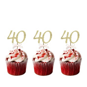 40th Birthday Cupcake Toppers - Pack of 10 - Number 40 Glitter Gold with Light Pink Bows