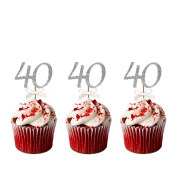 40th Birthday Cupcake Toppers - Pack of 10 Ð Number 40 Glittery Silver with Light Pink Bows