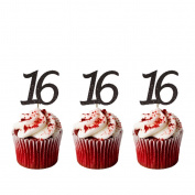 16th Birthday Cupcake Toppers - Pack of 10 - Number 16 Glitter Black