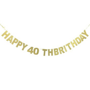 Veewon Happy 40th Birthday Banner Gold Glitter Letters Bunting Garlands 40th Birthday Anniversary Party Photo Prop Decor