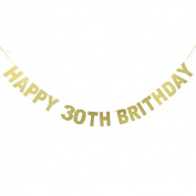 Veewon Happy 30th Birthday Banner Gold Glitter Letters Bunting Garlands 30th Birthday Anniversary Party Photo Prop Decor