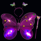 Sansee 3pcs/Set Girls LED Flashing Light Fairy Butterfly Wing Wand Headband Props Costume Toy-Perfect Accessory for Kids Girls in Kindergarten,Birthday,Hallowmas Party Fancy Dress