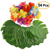 Kuuqa 54 Pcs Tropical Party Decoration Supplies 20cm Tropical Palm Leaves and Hibiscus Flowers, Simulation Leaf for Hawaiian Luau Party Jungle Beach Theme Table Decorations