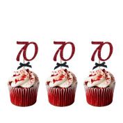 70th Birthday Cupcake Toppers - Pack of 10 - Number 70 Glitter Dark Pink with Black Bows