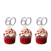60th Birthday Cupcake Toppers - Pack of 10 - Glittery Silver with Light Pink Bows