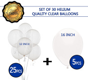 Red Bon Bon 30cm & 41cm Clear party ballons set, 25 pieces of 30cm and 5 pieces of 41cm Quality Latex Balloons | Perfect For Birthday Party Decorations, Wedding Decorations etc.