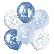 30cm Blue Glitz Boys Happy Birthday Pack of 6 Latex Balloons Mix of 3 Colours