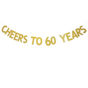 Veewon Cheers to 60 Years Banner Gold Glitter Letters Bunting Garlands 60th Birthday Anniversary Party Photo Prop Decor