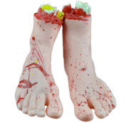 Fablcrew Halloween Bloody Broken Feet Realistic Horror Props for Halloween Haunted House Party 1pair