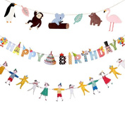 Colourful Happy Birthday Bunting Banner with Kids and Animals Cards for Party Decorations
