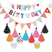 Colourful Happy Birthday Bunting Banner, Triangle Flags and Hats Crowns for Party Decorations