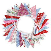 Fabric Bunting Banner, 10m Triangle Flag Garland with 36PCS Floral Pennants, Double Sided Vintage Cloth Shabby Chic Decoration for Wedding Birthday Parties