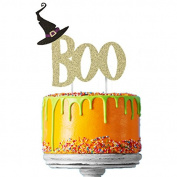 Glittery Gold Boo with Black Witches Hat Cake Decoration - Happy Halloween Cake Topper
