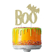 Happy Halloween Cake Topper - Glittery Gold Boo with Bat Cake Decoration