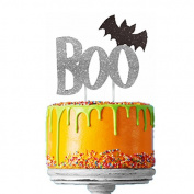 Happy Halloween Cake Topper - Glittery Silver Boo with Black Bat Cake Decoration