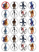 24 Five Nights at Freddy's Edible Wafer Paper Cup Cake Toppers