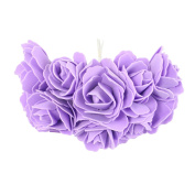 Bunch of 10 5cm Open Foam Roses - Fake Artificial Silk Flowers Wedding Craft [Lilac]