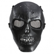 Gleader Army Skull Skeleton Airsoft Paintball BB Gun Full Face Game Protect Safe Mask - Silver Black