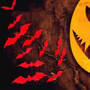 OverDose Halloween Stickers Home Decoration Art Mural 12PCS Bat Wall Sticker