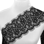 Smiry 3 Yards Black Eyelash Embroidered Lace Flower Venise Lace Ribbon Trim Fabric Lace Applique for Bridal Wedding Dress Sewing Craft