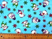 Cotton Christmas Snow Men Fabric 112cm Width, 2 colour options Sold by the metre, Free Delivery - Blue