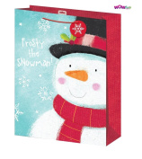 WOW Cute Christmas Frosty Snowman Gift Bag with Snowflakes Tag - XLarge