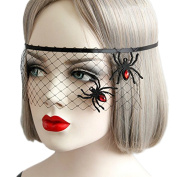 Hosaire 1 Pcs Halloween Carnival Make-up Party Black Hollow Spider Net Princess Ladies Mask Decoration Props