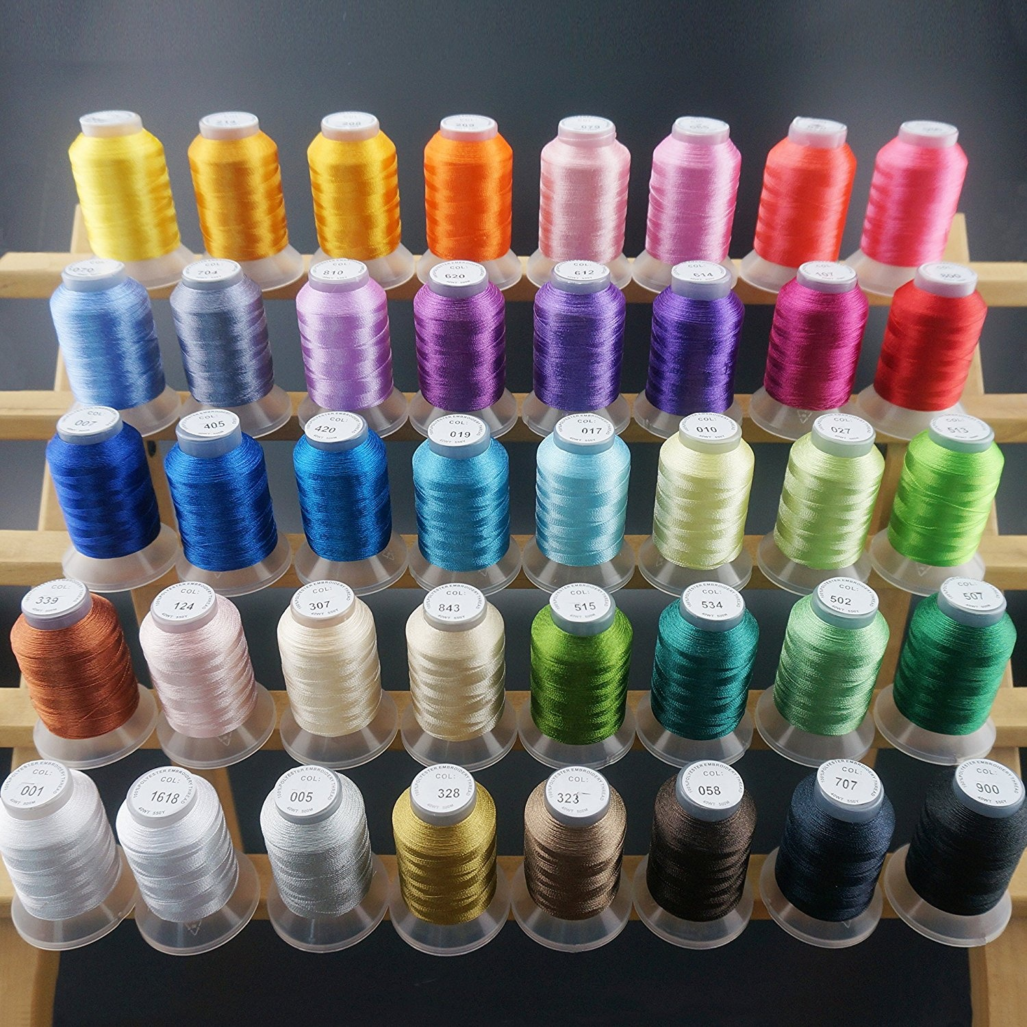 New brothread 40 Brother Colours Polyester Machine Embroidery Thread Kit  500M (550Y) each Spool for Brother Babylock Janome Singer Pfaff Husqvarna