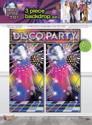 Large 3Pc 70's Disco 1970s Seventies Disco Ball Backdrop Banner Kits Photo Booth Selfie Station Party Decoration Accessory 6 Designs Available