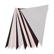Glitter Bunting Paper Banner Triangle Flag Wedding Party Decor , 3 m