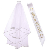 CCINEE Hen Party Bride to Be Veil with Comb and Hen Party Bride to Be Sash 2pcs