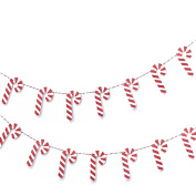 Ginger Ray Festive Christmas Candy Cane Wooden Bunting Garland Decoration - Santa and Friends