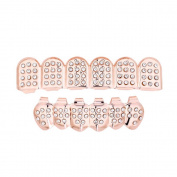 Mumustar 1 Set Gold Plated Hip Hop Teeth Grills Set Top & Bottom Grill Teeth Caps Removable for Adults