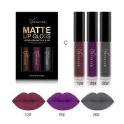 Xshuai 3PCS New Fashion Waterproof Long-Lasting Matte Liquid Lipstick Cosmetic Sexy Lip Gloss Kit for Women
