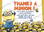 10 x Minion DESPICABLE ME Birthday Thank you cards Pack thick cards +Envelopes