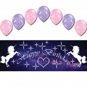 Unicorn Happy Birthday Children's Party PVC Sign Banner Balloons Decoration Pack