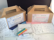 LARGE KRAFT BROWN PERSONALISED CHILDREN'S WEDDING ACTIVITY BOX - complete with activity pack & tissue paper